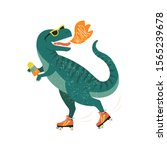 dinosaur on roller skates with... | Shutterstock .eps vector #1565239678