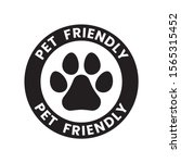 pet paw or dog label  stamp or... | Shutterstock .eps vector #1565315452