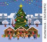 christmas village  winter town  ... | Shutterstock .eps vector #1565346952