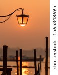 Romantic Lantern In Early Sunset