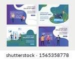 vr report analyzing set.... | Shutterstock .eps vector #1565358778