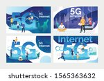 high speed connection set.... | Shutterstock .eps vector #1565363632