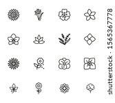 flowers line icon set. daffodil ... | Shutterstock .eps vector #1565367778