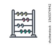 abacus color line icon. school...