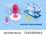 isometric digital recording and ... | Shutterstock .eps vector #1565404465