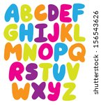 hand drawn rounded alphabet abs ... | Shutterstock .eps vector #156543626