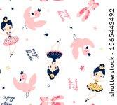 ballerina  swan and shoes hand...   Shutterstock .eps vector #1565443492