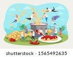 pasta  kitchen  family... | Shutterstock .eps vector #1565492635