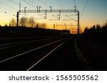 Beautiful sunset at railway in Kouvola, Finland.