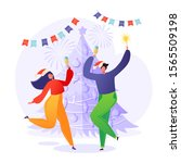 cheerful people  friends or...   Shutterstock .eps vector #1565509198