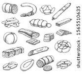 butcher shop meat  vector hand... | Shutterstock .eps vector #1565510635