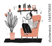 the girl sits reading her... | Shutterstock .eps vector #1565570035