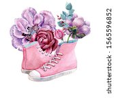 Illustration Of Pink Sneakers...