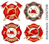 Set Of Fire Department Emblems...