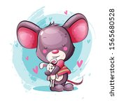 cute cartoon baby mouse with... | Shutterstock .eps vector #1565680528