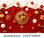 2020 chinese new year banner or ... | Shutterstock .eps vector #1565739835