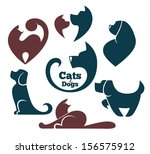 Stock vector cats and dogs my favorite pet vector collection of animals symbols 156575912