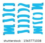 flat ribbons banners . blue... | Shutterstock . vector #1565771038