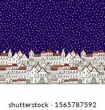 Snowy Christmas Night  Old City ...