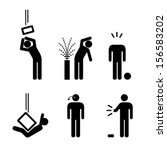 People icons: a variety of workplace accidents. Falling objects, crushed, spatter, spray, eye, limb and head injuries.