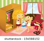 illustration of a girl helping...   Shutterstock . vector #156588152