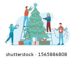 group of young people prepare... | Shutterstock .eps vector #1565886808
