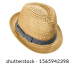 Straw Fedora Hat On White...