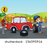 illustration of a car accident... | Shutterstock . vector #156595916