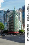 Small photo of San Francisco, California; October 2016: Zoetrope Cafe and the Sentinel Building.
