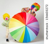 Funny Clown With Colorful...