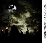 scary halloween background with ... | Shutterstock . vector #156610226