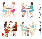 girls at cafe. four couples.... | Shutterstock .eps vector #156611648