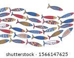 Cute Fish. Wave. Vector Sea...