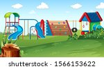 playground park scene with... | Shutterstock .eps vector #1566153622