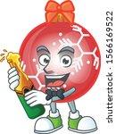 Cartoon Red Christmas Ball With ...