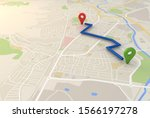 city map with pin pointers 3d... | Shutterstock . vector #1566197278
