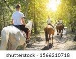 Group Of Teenagers On Horseback ...