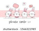 Hand Drawn Style. Cute Rabbit...
