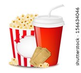 popcorn in cardboard box with... | Shutterstock . vector #156634046