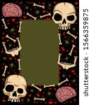 vector frame with creepy skulls ... | Shutterstock .eps vector #1566359875