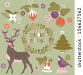 set of christmas and new year's ... | Shutterstock .eps vector #156637562