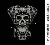skull motorcycle illustration...   Shutterstock .eps vector #1566428635