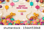 2020 chinese new year greeting... | Shutterstock .eps vector #1566453868