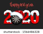 snowy new year numbers 2020 and ... | Shutterstock .eps vector #1566486328