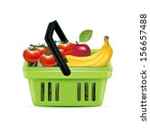 shopping basket and groceries... | Shutterstock .eps vector #156657488