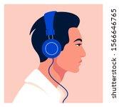 asian man listen to music on... | Shutterstock .eps vector #1566646765