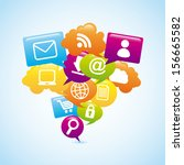internet icons over blue... | Shutterstock .eps vector #156665582