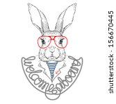 Stock vector vector illustration of bunny sailor isolated on white 156670445