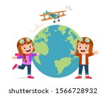 happy cute kid boy and girl... | Shutterstock .eps vector #1566728932