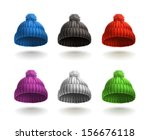 knitted cap  vector icon set | Shutterstock .eps vector #156676118